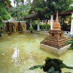 a pond by the lobby