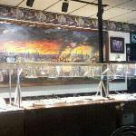 Main course buffet area with neat picture of Gettysburg battle on wall