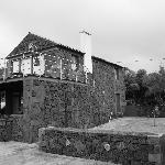 One of the cottages, made of volcanic stone.
