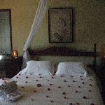 Our room, with flowers petals to celebrate our honeymoon