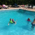 The kids enjoying the pool