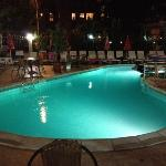 night view of the hotel's pool