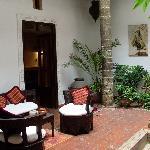 Courtyard & breakfast tables