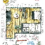 Hotel room layout sketched by measuring on location