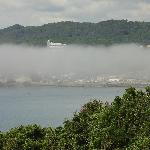 A seaside view with fog