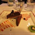 Dessert, cholate cake. Nice plate.