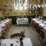 Bunting and flowers at the Old School Tearooms