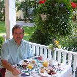 Dan enjoys a unique breakfast on the veranda.