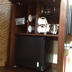 Console with fridge and coffee maker