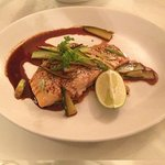 Baked salmon fillet with cucumber, spring onion and sweet soy dressing!