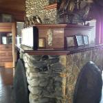 The coolest fieldstone fireplace...