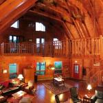 Interior of the lodge from the second floor -- panorama