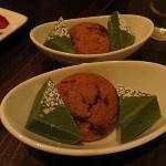 green tea fudge and chocolate chunk cookie