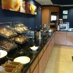 The breakfast bar is typical for a hotel of this type.