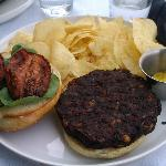 Black bean burger w/ mustard.