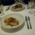 turbot with potatoes with olives (closest) and monkfish with potatoes furthest.