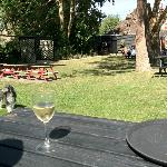 Our dog on the beautiful beer garden