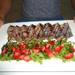 tuna steak and strawberry salad