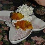 A brithday peach dessert.
