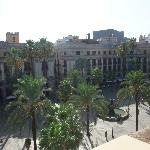 View of Placa Reial from our hotel window