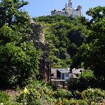Marksburg Castle, high above the rose garden in Braubach