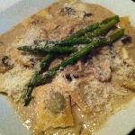 Ravioli with mushroom cream sauce and asparagus. Yum!