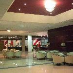 Hotel lobby. High polished floors, beautiful lighting.