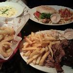 Burnt ends & ribs, BBQ Chicken burger & sides of Onion rings and mac cheese