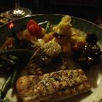 Fish and bear meat, all in one plate
