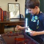 Our son works on his ebru picture