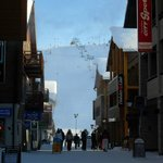 View from shops up to slopes
