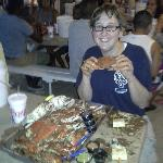 Wife with a crab - about 3 into it!