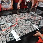 Model with map of the running of the bulls route