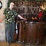 The extensive wine celler behind the hostess desk.