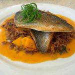 Blue bream fillet with rice in curry and mango sauce