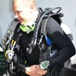 Tech diver ready to dive in