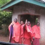 The Masaai guards waving good-bye as we were leaving