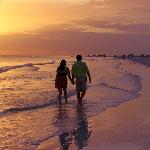 Sunset walk along Siesta Key Beach