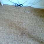 torn carpet, wires running all over