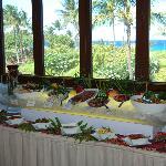 Salad and seafood table