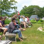 Visitors enjoying the Settlers' Garden