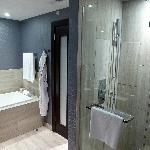 Huge soaking tub and large shower (for two)