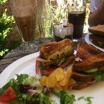 Club sandwich and a chocolate milkshake :)
