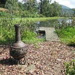 Fireplace with dock on pond