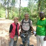 Our chance encounter with a cyclist from Switzerland with Emmanuel, our driver