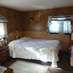 Queen bed in main room - cabin 6