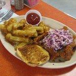 Cincinnati's Best Burger - The Buffalo Winged Burger w/fried zucchini