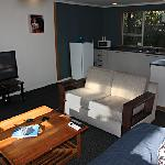 Our 2 bedroom apartment has a brand new kitchen, 43 inch flatscreen, air con and wetroom!