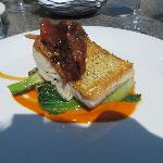 Seared pickerel with seasonal vegetables