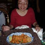 Thai pad noodles with prawns